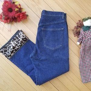 Karen Kane Leopard High Waisted Capri Jeans 6, 28
